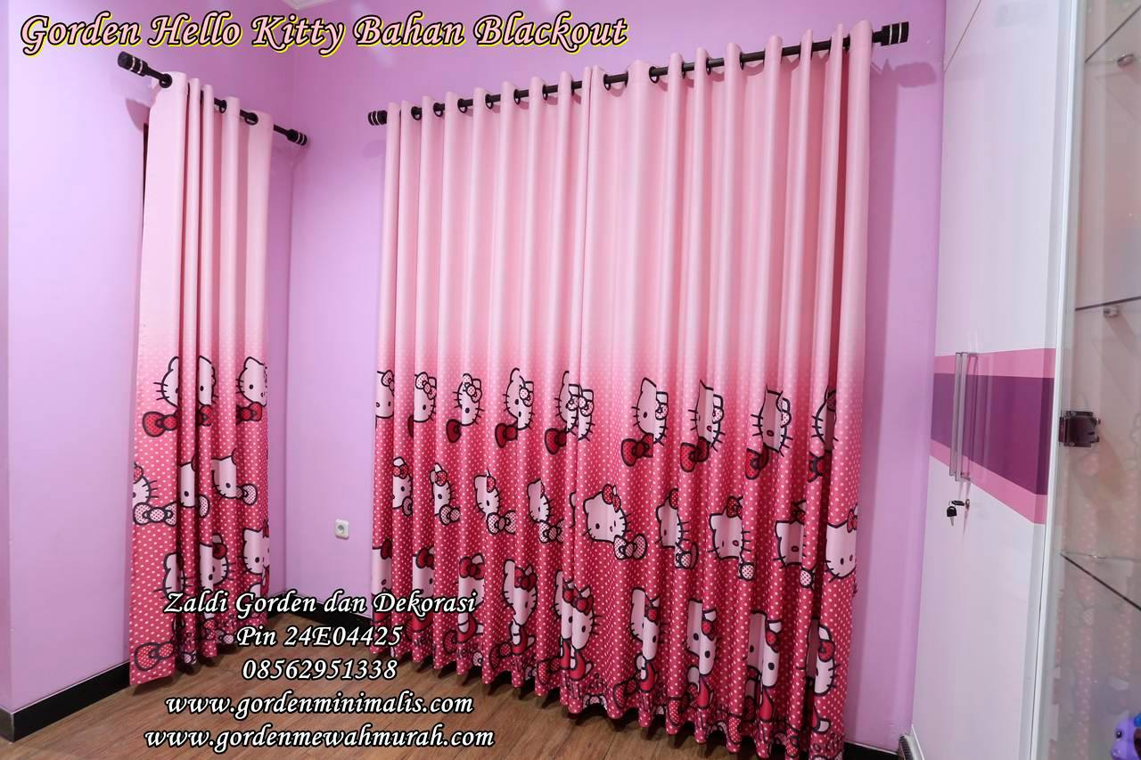 Gorden anak hello kitty terbaru motif hello kitty pink bahan blackout