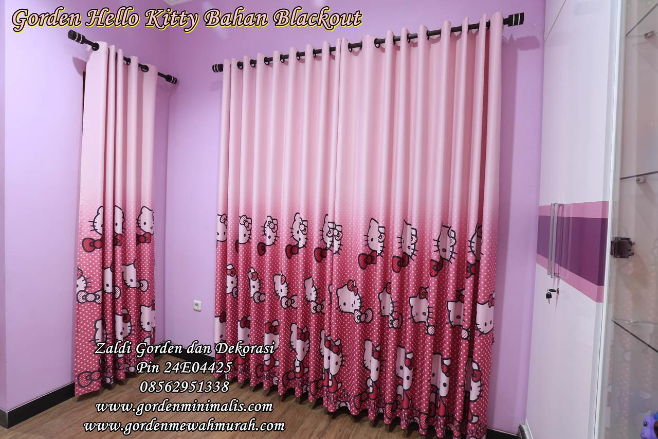 Gorden Hello Kitty Pink warna ungu Karpet lantai hello kitty tirai hello kitty lemari hello kitty sprei hello kitty 1