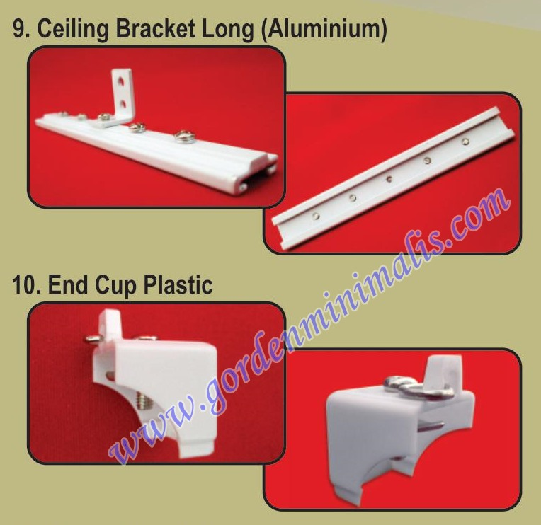 ceiling bracket long end cup plastic tutup rel gorden rumah sakit