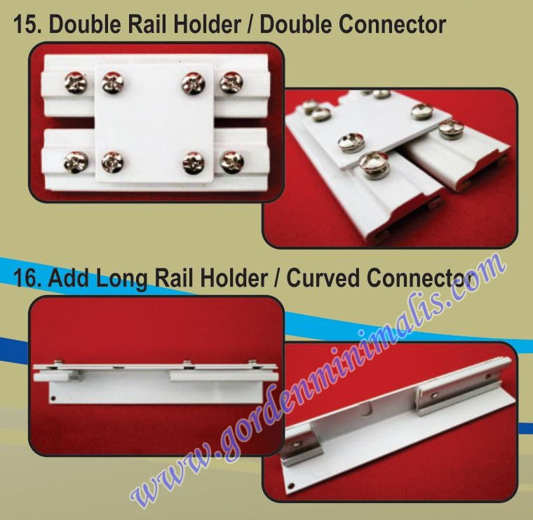 double rail holder double connector rail add long rail holder curved connector alat penghubung rel gorden