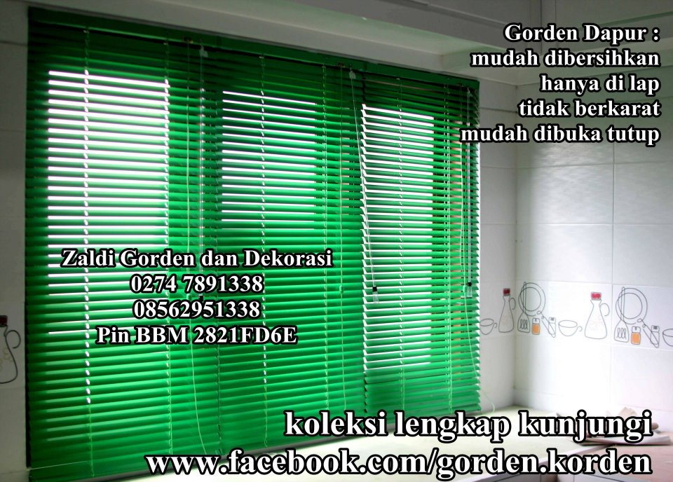 gorden horizontal blind kayu gorden dapur anti air anti minyak
